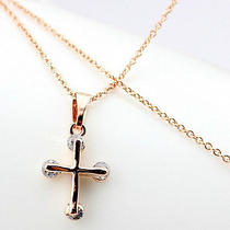 Cross Zircon Necklace for Women Lady Girls 14k Plated Rosegold Photo