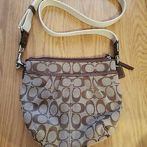 Crossbody Coach Small Tan Fabric Purse With Leather Accents. Nwot. Photo