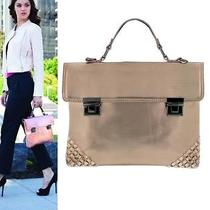 Crossbody Purse Hand Bag Metal Metallic Push Zip Pocket G5316 Rose Gold 9 3/8x12 Photo