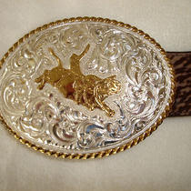 Crumrine Silver Plate on Bronze Bull Rider Fancy Western Belt Buckle Photo