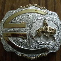 Crumrine Western Silver Belt Buckle Cutting Horse Rider Gold Ribbons Fancy Photo