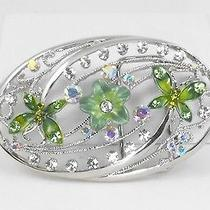 Crystal Belt Buckle Rhodium Plated  Butterfly & Green Flower Swarovski Elements Photo