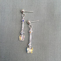 Crystal Butterfly Drop Earrings Made With Swarovski Bridal Jewellery Photo