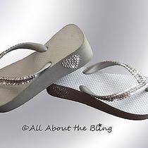 Crystal Flip Flops Havaianas or Wedge With Swarovski Silver Bridal Wedding Photo