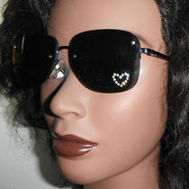 Crystal Heart Blued Chrome Chloe Classic Aviator Sunglasses Mint in Case  Photo