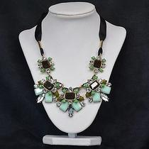 Crystal Noir Statement Necklace Signature Chunky Ribbon Tie Prom Jewelry Photo