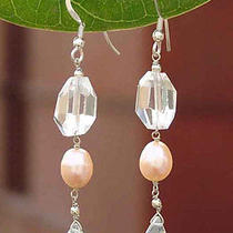 Crystal Quartz & Pink Pearl Earrings 'Fantasy' Sterling Silver Art Novica India Photo