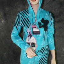 Crystal Rock Christian Audigier  Rhinestone Hoodie Jacket  Turquoise M Photo