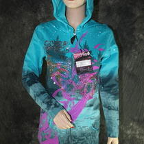 Crystal Rock Christian Audigier  Rhinestone Hoodie Jacket Turquoise  S Photo