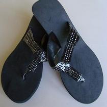 Crystal Thong Wedge Flip Flop Sandal Shoes Womens Size Lg. (9-10) Black Avon  Photo