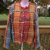 Crystal Wearable Art Funky Boutique Blazer Jacket Medium Handwoven Columbia Photo