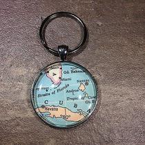 Cuba Havana Nassau Andros Island Cuba  Map Key Ring Keychain Silver Vntg Atlas Photo