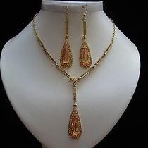 Cubic Zirconia Necklace & Earrings Lt Topaz Cz & Swarovski Wedding Set N3055a Photo