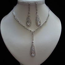 Cubic Zirconia Necklace & Earrings Set Clear Cz & Swarovski Wedding Set N3055 Photo