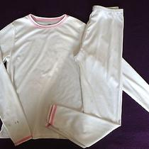 Cuddl Duds Chill Chasers Girl's 7/8 M White Warm Layers 2-Piece Set Thumb Holes Photo