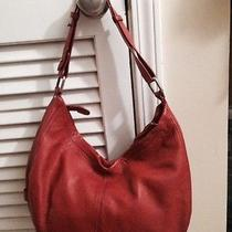 Cul-De-Sac Orange Textured Leather Hobo Bag Purse Excellent Photo