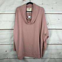 Cupio Blush Plus Size Long Sleeve Cowl Neck Womens 3x Casual Pink Ribbed Top Nwt Photo
