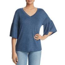 Cupio Blush Womens Blue Marled Knit v-Neck Pullover Top Shirt S  4274 Photo