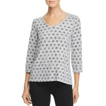Cupio Blush Womens Gray Polka Dot v-Neck Tee Pullover Top Sweater L Bhfo 4032 Photo