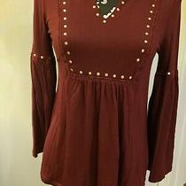 Cupio Blush Womens Maroon With Gold Studs v-Neck Bell Sleeves Top Shirt S Photo