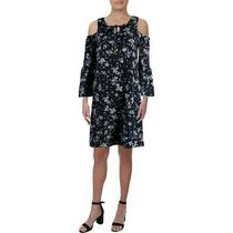 Cupio Blush Womens Navy Cold Shoulder Floral Short Casual Dress S  5148 Photo