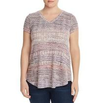 Cupio Blush Womens Pink v-Neck Printed Hi-Low Top Shirt Plus 3x  9183 Photo