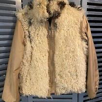 Curly Beige Tan Lamb Fur Coat Vintage Size M Photo
