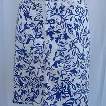 Current / Elliott by Dvf Off White Blue Print Cotton Stretch Denim Skirt Sz 28 Photo