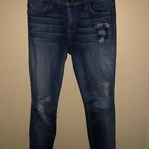 Current/elliott Jeans the Ankle Skinny Size 27 Distressed Cheville Blue Denim Photo