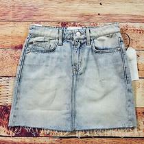 Current Elliott Mini Denim Jean Women Size 24 Light Wash Blue Raw Hem Frayed Nwt Photo