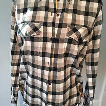 Current Elliott Plaid Black White Tan Silver Threads Women's Shirt Top Blouse Photo