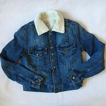 Current Elliott Sz 0 Xs the Snap Denim Jean Jacket Sherpa Blue Snaps Fitted Photo