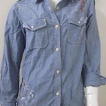 Current Elliott the Perfect Chambray Shirt With Paint Size 3 Photo