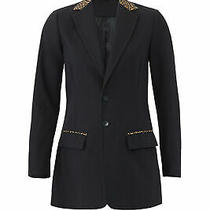 Current/elliott Women's Blazer Black Size 4 Leopard Print Two Button 328- 041 Photo