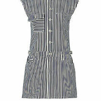 Current/elliott Womens Dress White Size 2-4 (Ss 1) Shift Denim Stripe 298- 216 Photo