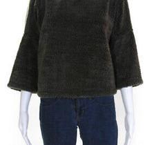Current/elliott Womens Turtleneck Faux Sherpa Sweatshirt Dark Green Size 1 Photo