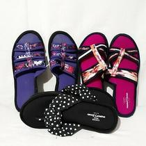 Cushion Walk Memory Foam by Avon Slippers Sz 12 Lot of 3 Pink Purple Black Print Photo