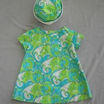 Custom Boutique Bowznstuff Lime Aqua Blue Retro Swirl Dress & Hat Set 2 3 4 Yrs Photo