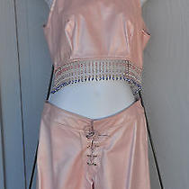 Custom Designer Leather Outfit Blush Pink - Sexy Top Pants - Wms Xs - S - Beads Photo