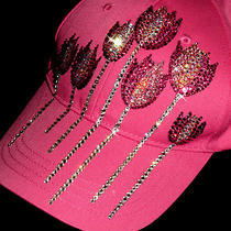 Custom Hand Made With Swarovsk Elements Design Flower Pink Hat Baseball Cap  Photo