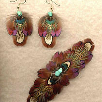 Custom Large Real Feather Barrette/earring Set - Sharp  Handmade in Usa Photo