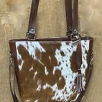 Custom Made Double-Sided Genuine Brown & White Cowhide Leather Shoulder Tote Bag Photo