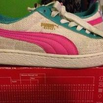 Custom Made Puma Sneaker Size 7 Pink Turquoise Silver Beige Off White Photo