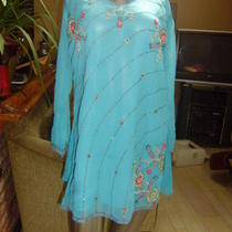 Custom Made Turquoise Beaded Silk Long-Sleeved Tunic W Sequin Floral Detail L Xl Photo