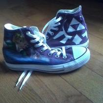 Custom Painted Never Worn Purple Converse Zelda Nintendo Sneakers Size 5 Women Photo