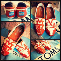 Custom Painted Ut Longhorn Toms. Free Personalization Photo