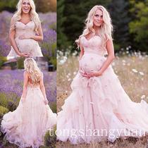 Custom Pregnant Blush Pink Bridal Dress Sweetheart Ruffle Maternity Wedding Gown Photo