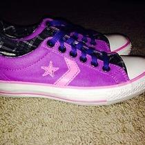 Custom Purple Converse Shoes Photo