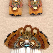 Custom Real Pheasant Feather Comb/earring Set - Classy  Handmade in Usa Photo