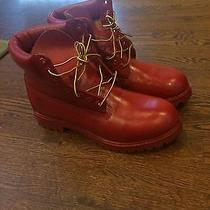 Custom Red Timberland Boots Photo